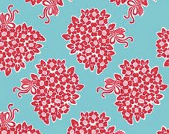 Red/Aqua Millie's Closet by Lori Holt for Riley Blake C2840   Sold by the half  yard.