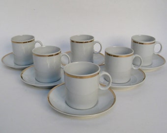 Porcelain Demitasses with Saucers, Set of 6