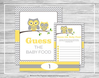 Owl Baby Shower Guess The Baby Food Game - Printable Baby Shower Guess Baby Food Game - Yellow Owl Baby Shower - Baby Food Game - SP133
