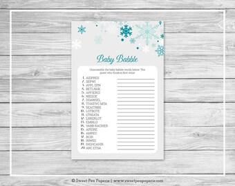 Winter Wonderland Baby Shower Baby Babble Game - Printable Baby Shower Baby Babble Game - Winter Wonderland Baby Shower - SP114
