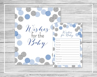 Blue and Silver Baby Shower Wishes for Baby Cards - Printable Baby Shower Wishes for Baby Cards - Blue and Silver Glitter Baby Shower- SP124