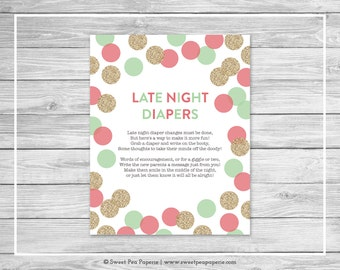 Mint and Coral Gender Reveal Late Night Diapers Sign - Printable Gender Reveal Late Night Diapers - Coral Mint Gold Gender Reveal - SP132