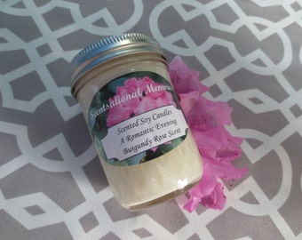 Burgundy Rose- Scented Soy Candle- 8 oz Candle -Floral Candle- Romantic Candle- Gift Idea