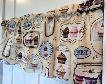 Cupcake bakery tan and brown Kitchen Curtain Valance