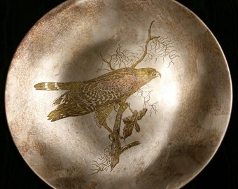Reed and Barton Silver Company Damascene Limited Edition Audubon Bird Collection Tri Colored Metal Plate or Tray Red Shouldered Hawk