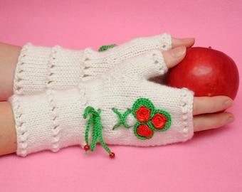 Floral gloves unique Fingerless Gloves Girlfriend Gift for Womens gift ideas Fingerless Mittens sister gift for bride wife gift|for|her