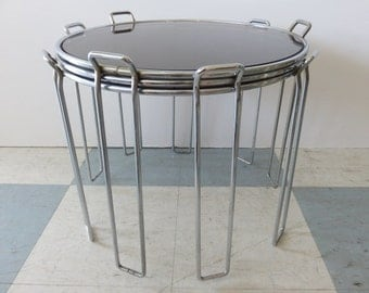 Set Of Three Mid-Century Modern Chrome And Smoked Glass Stacking Tables In The Manner Of: Saporiti.