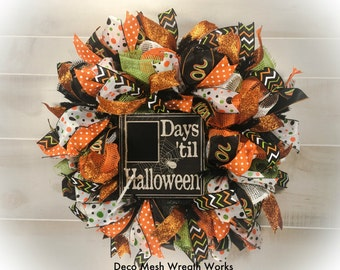 Halloween Wreath, Trick or Treat Wreath, Fall Wreath, Autumn Wreath, Paper Mesh Wreath, Deco Mesh Wreath, Halloween Decoration, Halloween