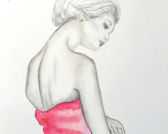 "Original Drawing Pencil  Watercolor 11""x15"""