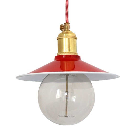 Red Industrial Chandelier: Handmade Steel Red Pendant Light Industrial Pendant Light