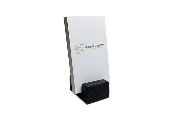 Vertical Business Card Holder made from Black Absolute Granite