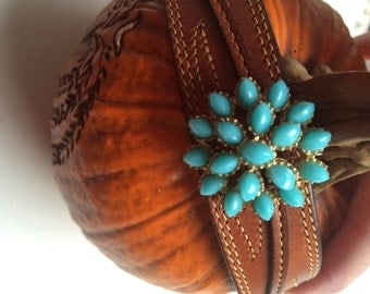 Vintage Turquoise Porcupine Earring Leather Cuff