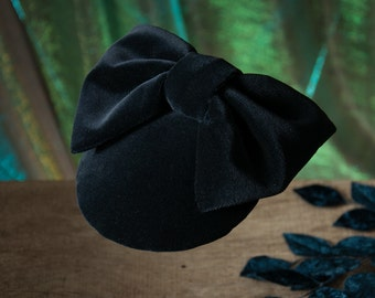 Fascinator dark blue velvet