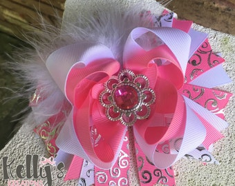 Jewel pink and white hairbow-stacked hairbow-girls bow- pink hairbow-white hairbow-feather hairbow.