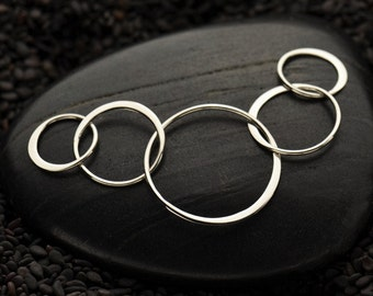 Five Circle Link Sterling Silver Connectors Rings Links