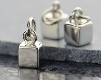 Sterling Silver Cube Charm, 1pc, 3D Cube Stamping Blank, Cube Stamping Charm