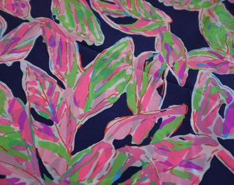 "1 YARD 36"" x 55"" Lilly Pulitzer Silk Fabric Bright Navy In The Vias"