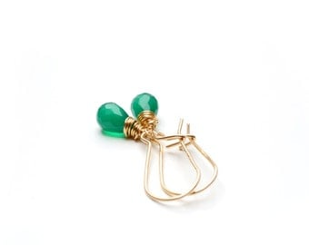 Green Onyx Earring, Gemstone Earrings, Gift For Mum, Emerald Green Earrings, Gemstone Jewelry, 14K gold filled, Womens Jewelry, Gift For Her