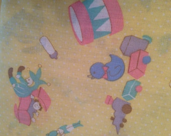 "Yellow Baby Print Fabric Yardage Cotton Blend.  45 x 36"" Vintage"