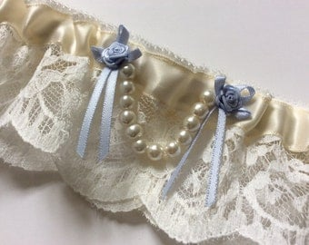 Aurora Ivory Bridal Wedding Garter Nottingham Lace, Pearl Bead, Satin Ribbon and Traditional Blue Rose