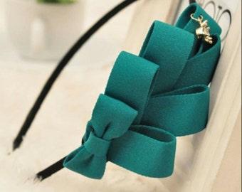 Green big bow headband fashion chic for women beautiful and cute headband hair accessories