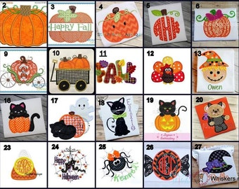 NOT FOR SALE ** Fall Halloween Applique Designs by whiskersnstitches