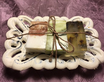 Herbal Soap Sampler gift set with soap dish