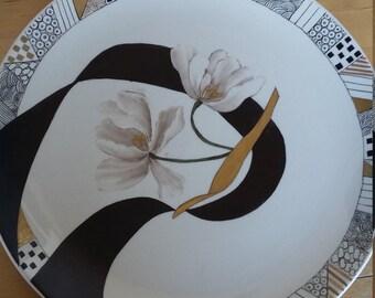 "Plate hand-painted ceramic ""Ribbon"""