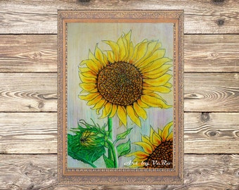 The sunflower blooming. 100% Original. Oil pastel