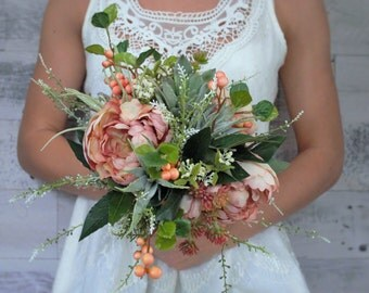 Succulent bouquet with peonies