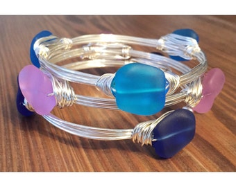 Seaglass bangles with silver wire