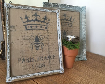 """8"""" x 10"""" Vintage Picture Frame Hand Stamped Art"""