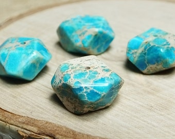 Turquoise Blue Impression Jasper Nuggets, Four Beads