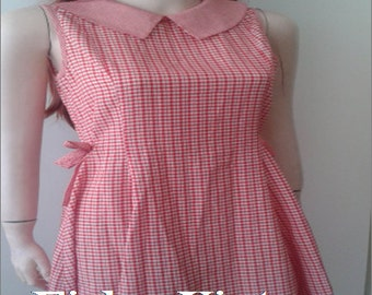 PICTURES-MINI baby doll collar peter pan collar dress baby years 60-70's vintage babydoll mod sleeveless pin-up hipster vichy