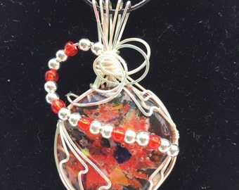 Wirewrapped fused glass fire pendant