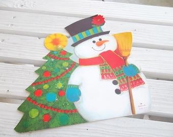 Vintage Christmas Snowman, Hallmark, Die Cut Decoration, Cardstock, 10 X 10 inches