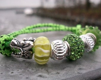 Sail bracelet Dragon, sea monster, greenery, green lime green silver colors, sailors surfers climbing, maritime, nautical, cord rope rope