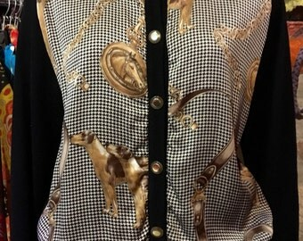 1990' classic print silk, cotton dropped shoulder cardigan. Size S.