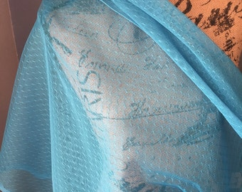Blue Jewel Point D' Esprit Bridal Special Occasion Fabric 1 Yard