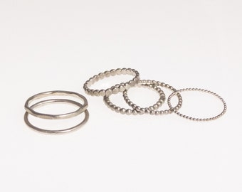 Set: select 3 rings / stack rings, 925 sterling silver
