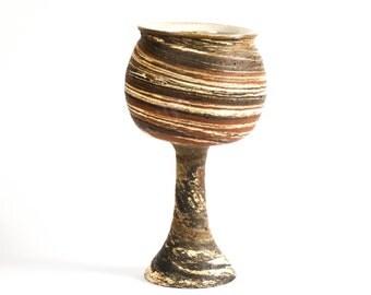 Wine goblet, ceramics, hand-getoepfert
