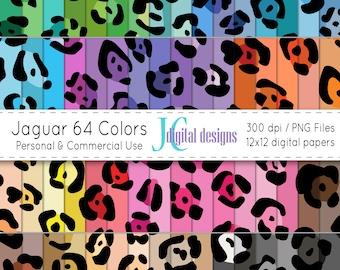 Jaguar 64 Colors Digital Paper Set (JCDD-030), instant download, commercial and personal use