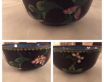 Vintage Chinese enamelware cloisonne bowl
