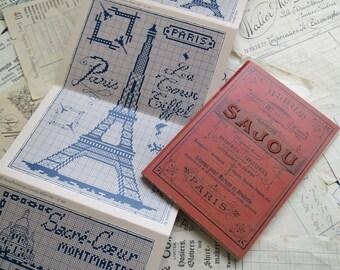 Sajou Red Cross Stitch Album 911- Eiffel Tower & Paris Landmarks
