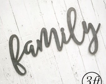 family | 3ft Metal Cut Out Word | All Metal Sign