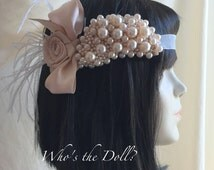Pearl Vintage style headpiece/Evangeline/Bridal headpiece/1920s Vintage/Pearl cluster design/matching cuff bracelet also available