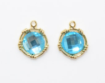 Blue Zircon Glass Pendant . Round Glass Pendant . Jewelry Craft Supply . 16K Polished Gold Plated over Brass - 2pcs / RG0115-PGCC