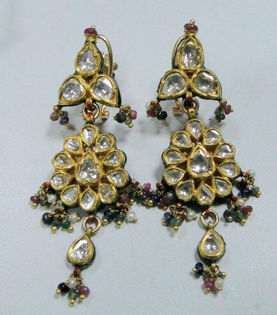 tribalexport Diamond Earrings 22K Gold Polki Diamond Kundan Meena