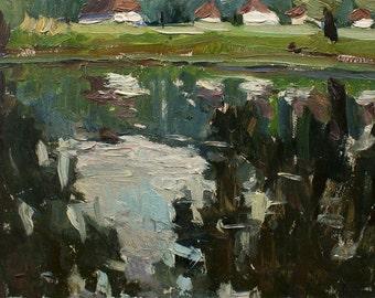 Vintage Original Oil Painting by Tarasenko V. 1960s, Rural Landscape, Riverscape, Plein Air Handmade Painting, Impressionist Ukrainian Art