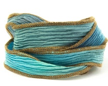 Ocean Blues Handmade Silk Ribbon - Mixed light and dark blue blend with brown edges - 562